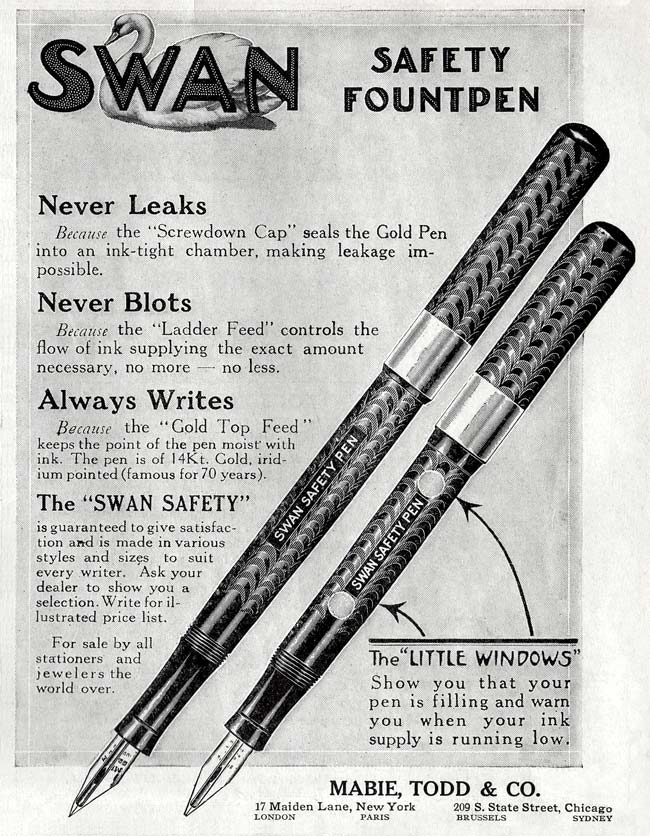 Swan Safety Fountain Pen en 1913